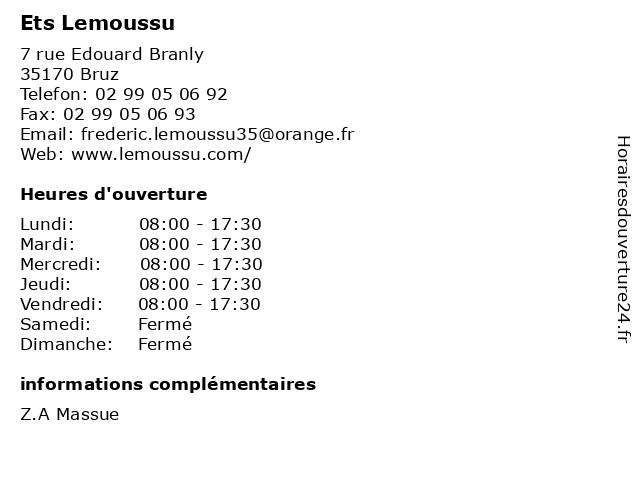 Ets Lemoussu à Bruz: adresse et heures d'ouverture