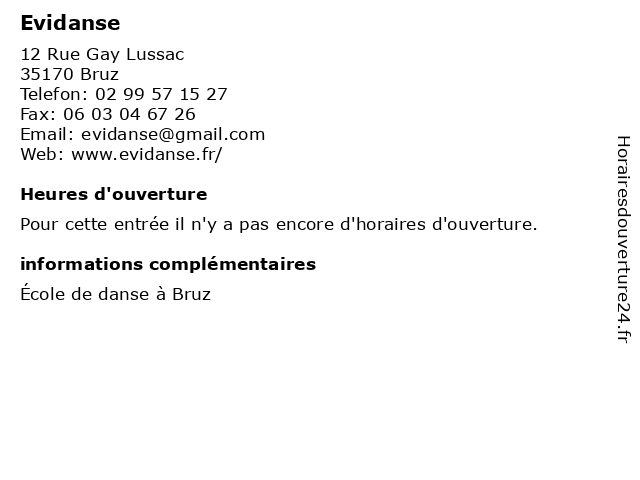 Evidanse à Bruz: adresse et heures d'ouverture