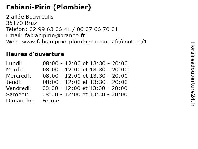 Fabiani-Pirio (Plombier) à Bruz: adresse et heures d'ouverture
