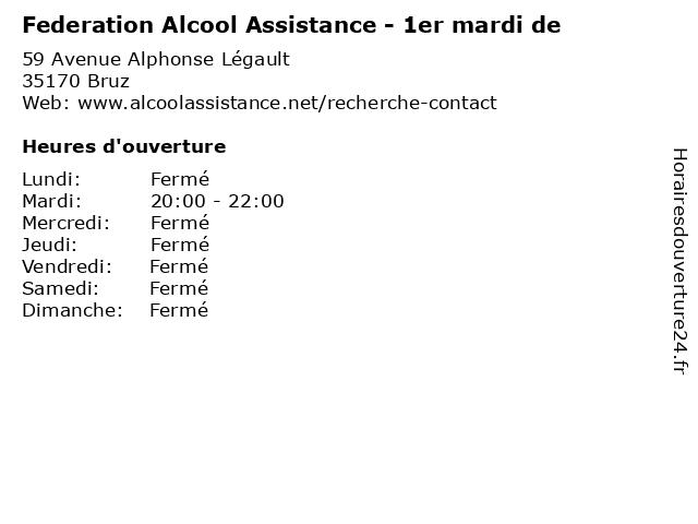 Federation Alcool Assistance - 1er mardi de à Bruz: adresse et heures d'ouverture
