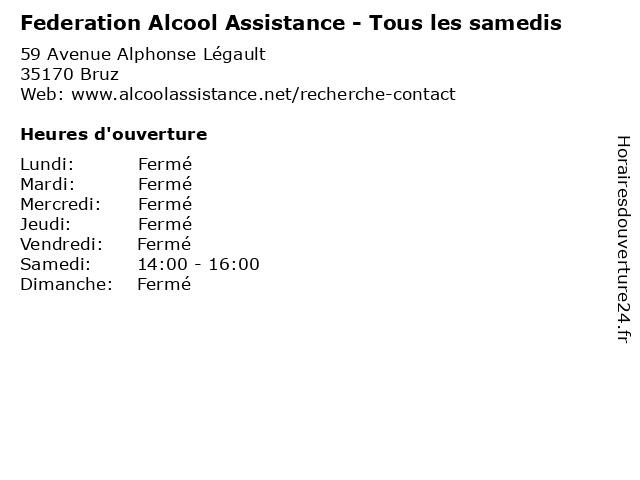 Federation Alcool Assistance - Tous les samedis à Bruz: adresse et heures d'ouverture