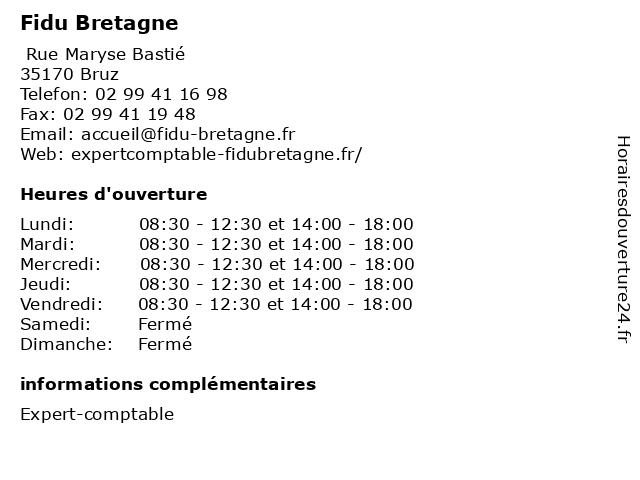 Fidu Bretagne à Bruz: adresse et heures d'ouverture