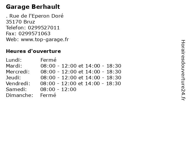 Garage Berhault à Bruz: adresse et heures d'ouverture