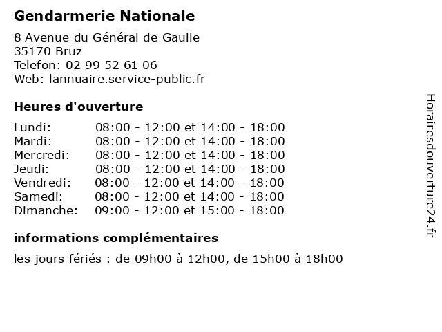 Gendarmerie Nationale à Bruz: adresse et heures d'ouverture