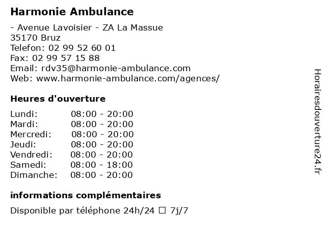 Harmonie Ambulance à Bruz: adresse et heures d'ouverture