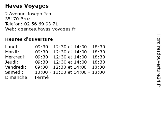 Havas Voyages à Bruz: adresse et heures d'ouverture