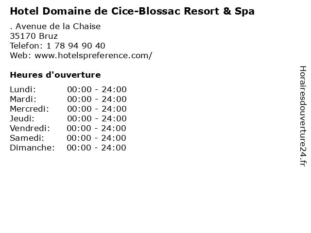Hotel Domaine de Cice-Blossac Resort & Spa à Bruz: adresse et heures d'ouverture