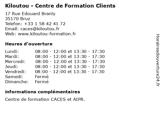 Kiloutou - Centre de Formation Clients à Bruz: adresse et heures d'ouverture