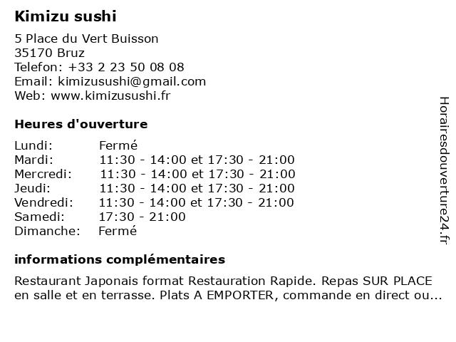 Kimizu Sushi Restaurant Bruz à Bruz: adresse et heures d'ouverture