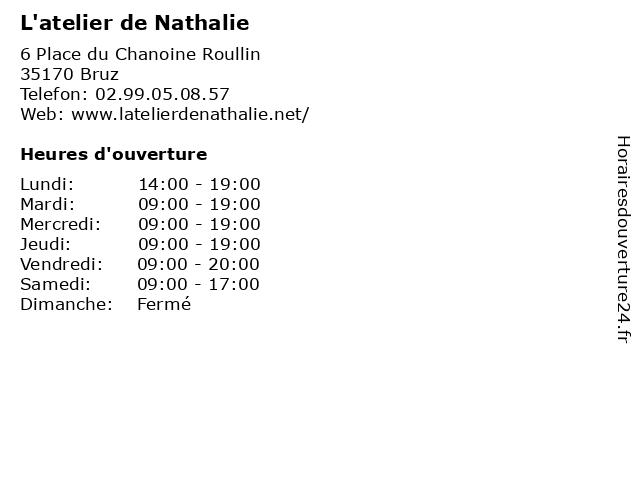 L'atelier de Nathalie à Bruz: adresse et heures d'ouverture