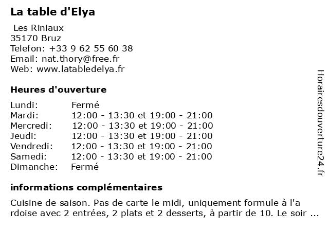 LA TABLE D'ELYA à Bruz: adresse et heures d'ouverture