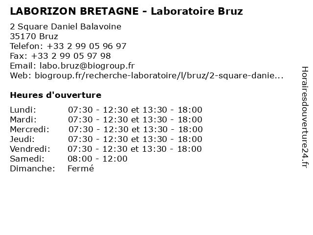 LABORIZON BRETAGNE - Laboratoire Bruz à Bruz: adresse et heures d'ouverture
