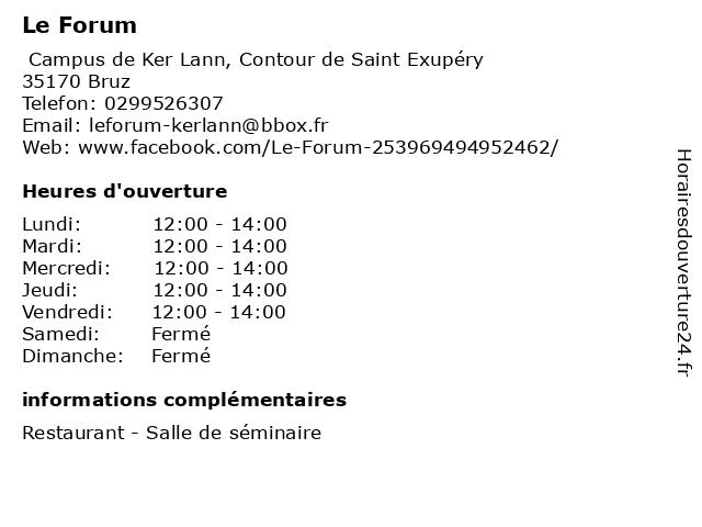 Le Forum à Bruz: adresse et heures d'ouverture