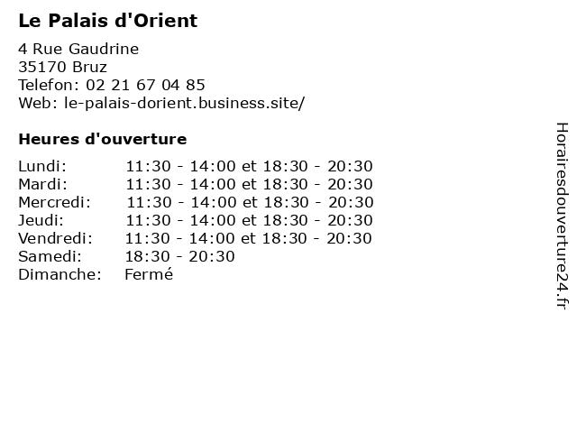 Le Palais d'Orient à Bruz: adresse et heures d'ouverture