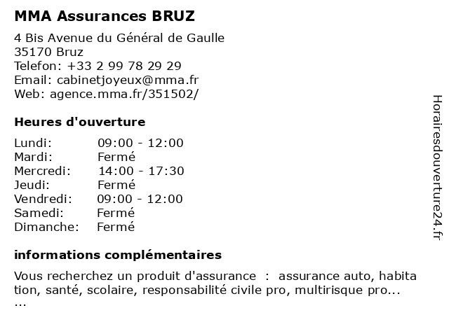 MMA ASSURANCES BRUZ à Bruz: adresse et heures d'ouverture