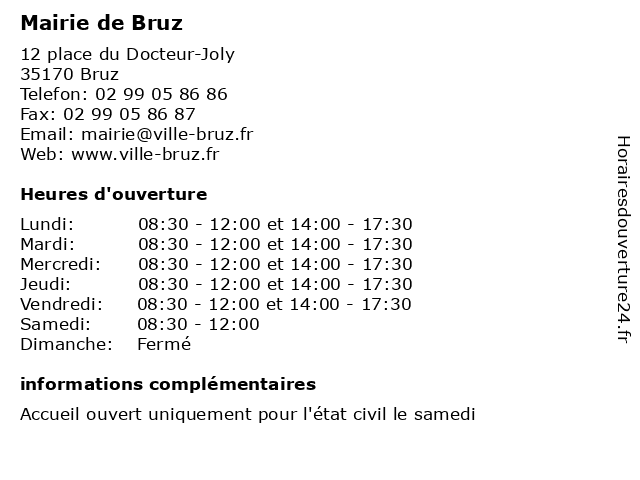 Mairie de Bruz à Bruz: adresse et heures d'ouverture