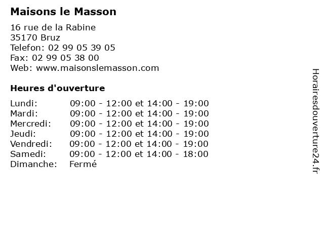 Maisons le Masson à Bruz: adresse et heures d'ouverture