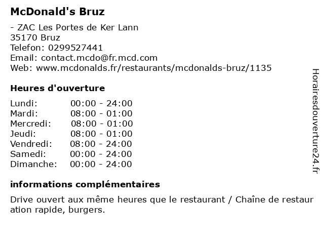 McDonald's - restaurant et drive à Bruz: adresse et heures d'ouverture