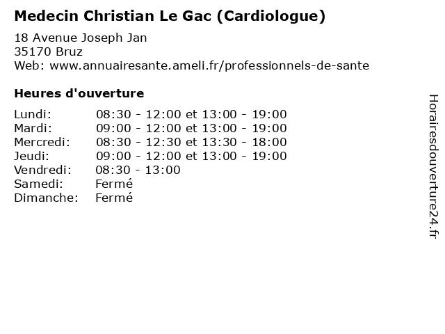 Medecin Christian Le Gac (Cardiologue) à Bruz: adresse et heures d'ouverture