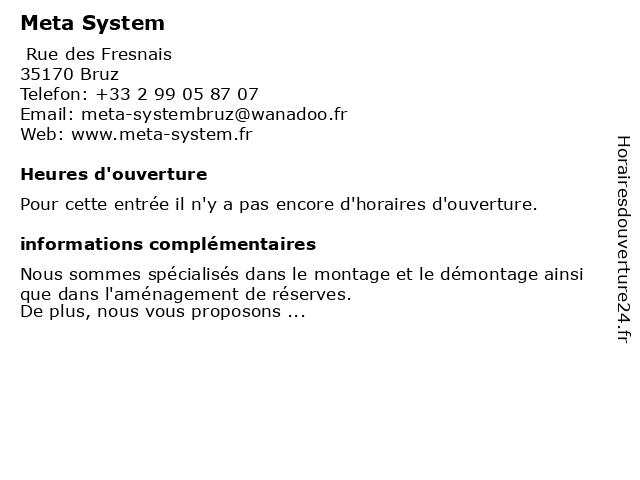 Meta System à Bruz: adresse et heures d'ouverture