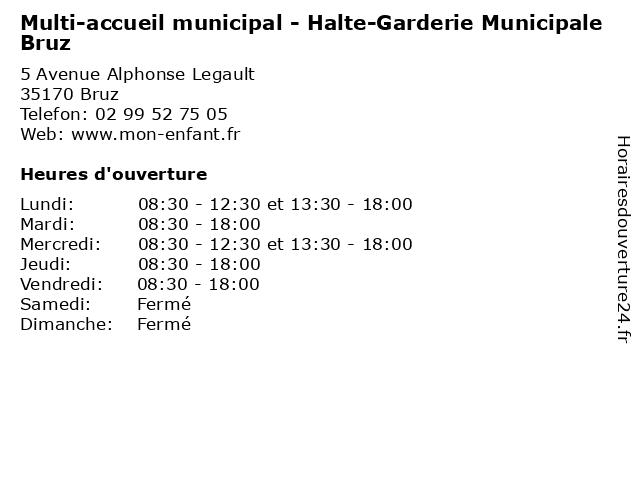 Multi-accueil municipal - Halte-Garderie Municipale Bruz à Bruz: adresse et heures d'ouverture
