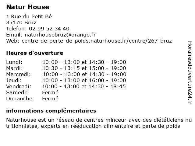 Natur House à Bruz: adresse et heures d'ouverture