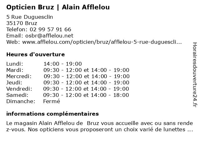 Opticien Alain Afflelou à Bruz: adresse et heures d'ouverture