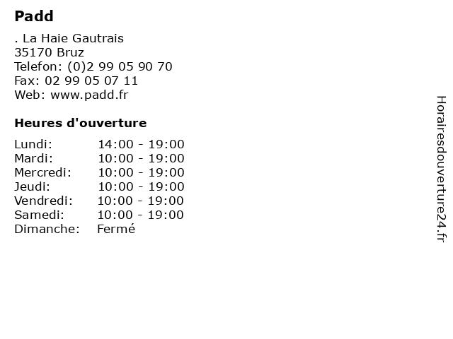 Padd à Bruz: adresse et heures d'ouverture