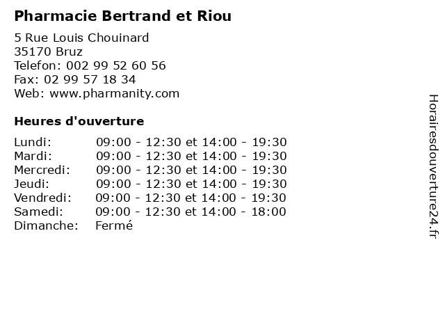 Pharmacie Bertrand et Riou à Bruz: adresse et heures d'ouverture