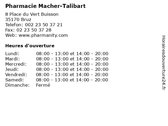 Pharmacie Macher-Talibart à Bruz: adresse et heures d'ouverture
