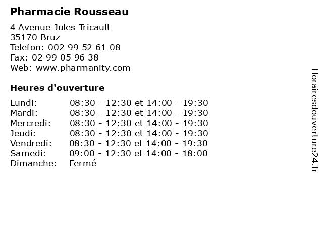 Pharmacie Rousseau à Bruz: adresse et heures d'ouverture