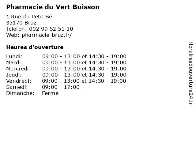 Pharmacie du Vert Buisson à Bruz: adresse et heures d'ouverture