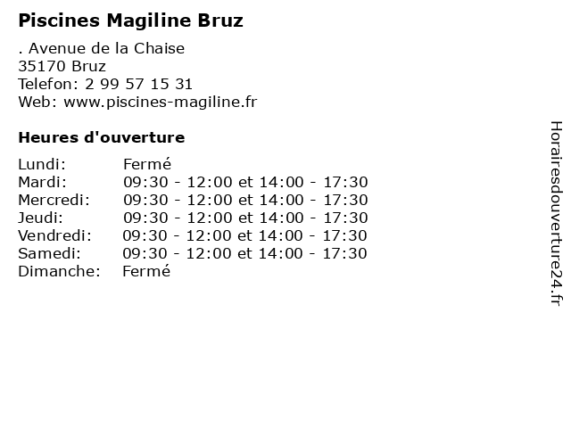 Piscines Magiline Bruz à Bruz: adresse et heures d'ouverture