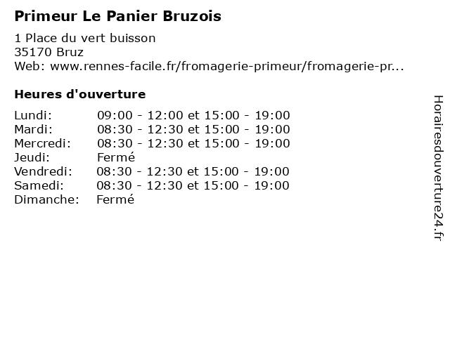 Primeur Le Panier Bruzois à Bruz: adresse et heures d'ouverture