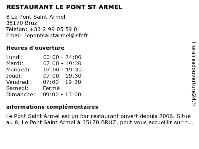RESTAURANT LE PONT ST ARMEL à Bruz: adresse et heures d'ouverture