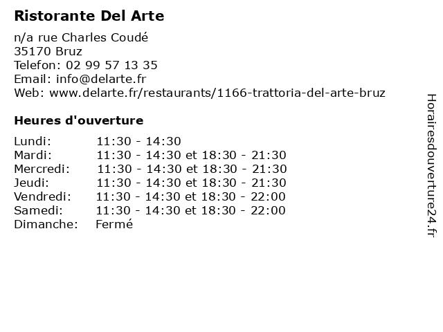 Ristorante Del Arte à Bruz: adresse et heures d'ouverture