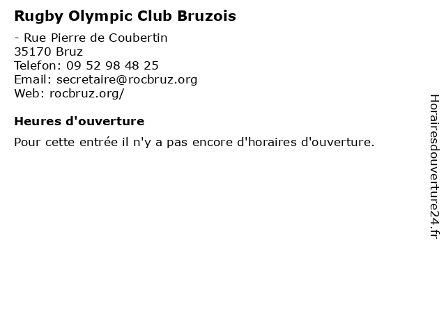 Rugby Olympic Club Bruzois à Bruz: adresse et heures d'ouverture