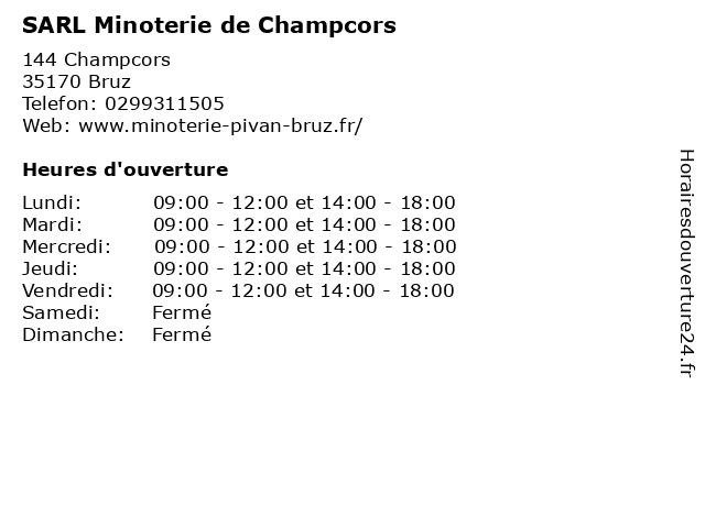 SARL Minoterie de Champcors à Bruz: adresse et heures d'ouverture