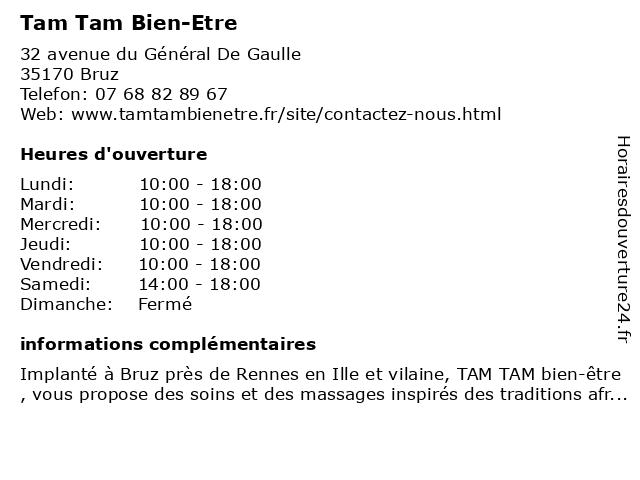 Tam Tam Bien-Etre à Bruz: adresse et heures d'ouverture