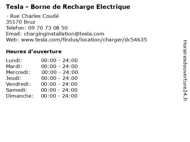Tesla - Borne de Recharge Electrique à Bruz: adresse et heures d'ouverture