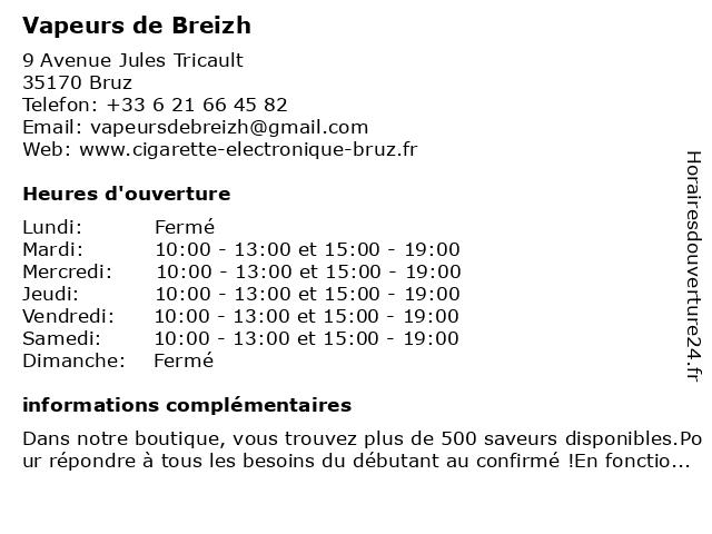 Vapeurs de Breizh à Bruz: adresse et heures d'ouverture