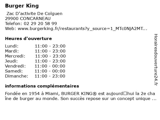 Burger King à CONCARNEAU: adresse et heures d'ouverture