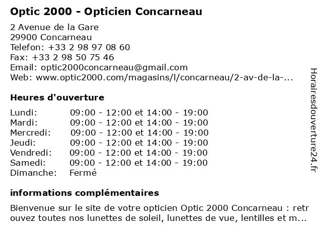 Opticien Optic 2000 Concarneau - Lunettes, lunettes de soleil, lentilles à CONCARNEAU: adresse et heures d'ouverture