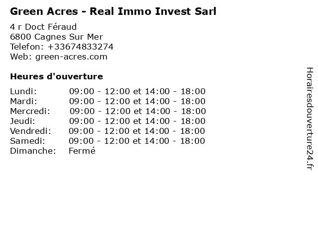 Green Acres - Real Immo Invest Sarl à Cagnes Sur Mer: adresse et heures d'ouverture