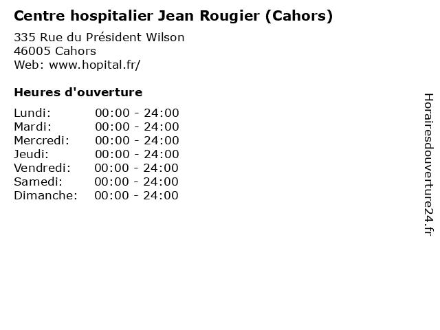 Centre hospitalier Jean Rougier (Cahors) à Cahors: adresse et heures d'ouverture