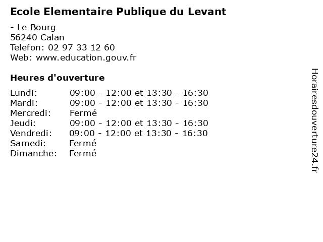 Ecole Elementaire Publique du Levant à Calan: adresse et heures d'ouverture