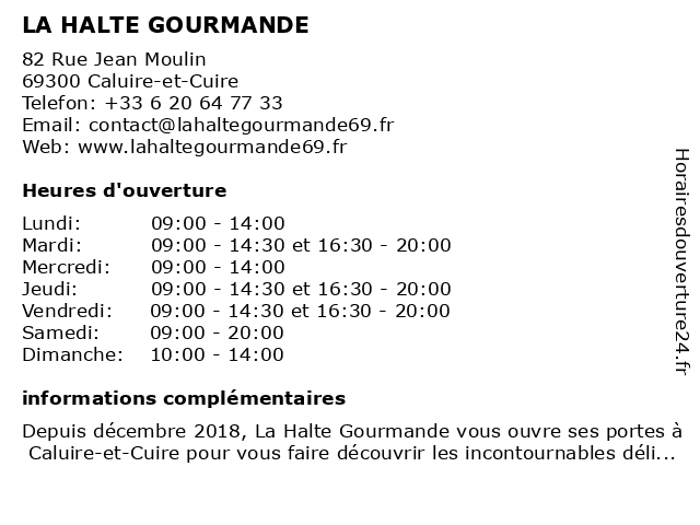 LA HALTE GOURMANDE à Caluire-et-Cuire: adresse et heures d'ouverture