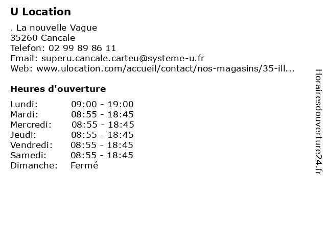 Super U Location à Cancale: adresse et heures d'ouverture