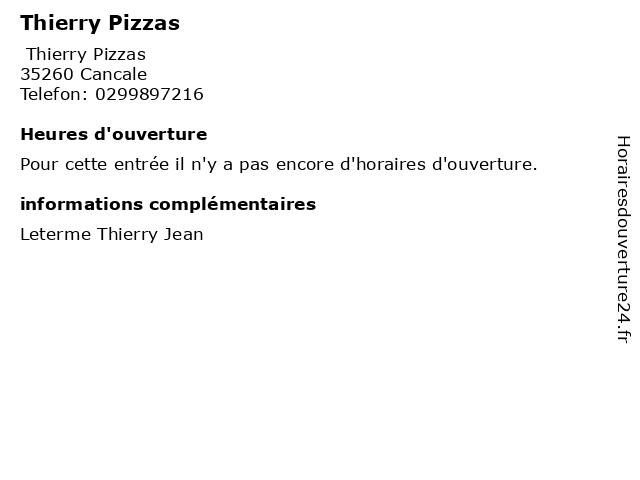 Thierry Pizzas à Cancale: adresse et heures d'ouverture
