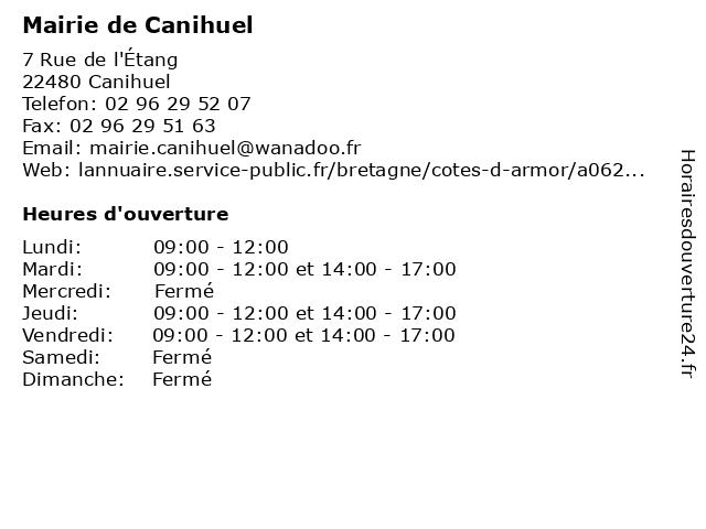 Mairie de Canihuel à Canihuel: adresse et heures d'ouverture